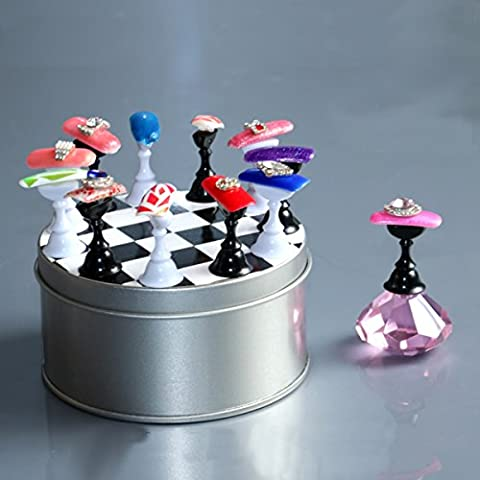 Bluelover 12 Pcs Chess Board Nail Art Tips Display Holder Crystal Magnetic Stand Set Manicure Salon