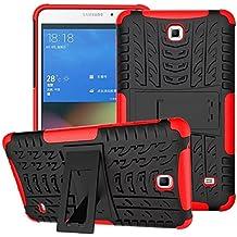 Funda para Samsung Galaxy Tab 4 7.0,XITODA Hybrid TPU silicone & Duro PC Protección Cover para Samsung Galaxy Tab 4 7.0 pulgadas SM-T230/T231/T235 Tablet Case Funda con Kickstand / Stand - Rojo