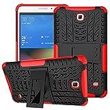 XITODA Hülle für Samsung Galaxy Tab 4 7.0, Hybrid TPU Silikon & Schwer PC Cover Schutzhülle für Samsung Galaxy Tab 4 7.0 SM-T230/T231/T235 Tablet Case Hülle mit Kickstand/Stand - Rot