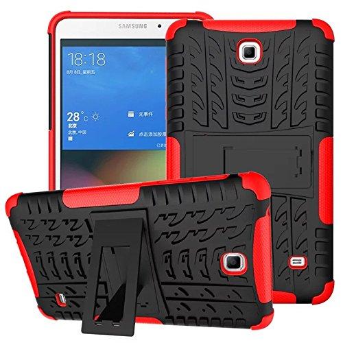 amsung Galaxy Tab 4 7.0, Hybrid TPU Silikon & Schwer PC Cover Schutzhülle für Samsung Galaxy Tab 4 7.0 SM-T230/T231/T235 Tablet Case Hülle mit Kickstand/Stand - Rot ()
