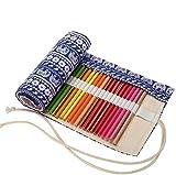 Amoyie Canvas Faltbare Stifterolle für 36 Buntstifte und Bleistifte, Roll-up Mäppchen für Künstler, Verpackung Mehrzwecktasche für Reisen / Schule / Büro / Kunst (keine Schreibzeuge im Lieferumfang), Blaue Elefante