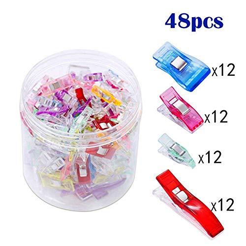 Eghunooye 48 stücke Kunststoff Nähen Clips, 4 Style und 4 Verschiedene Größen Mehrfarbig N?Hen Zubehäre Nähklammern Multi-Use Craft Clips Näh klammern mit Box Paket