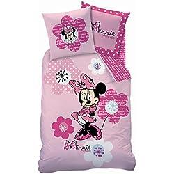 Juego de cama (2 piezas, incluye funda nórdica de 140 x 200 cm y funda de almohada de 63 x 63 cm, diseño de Minnie con flores), color rosa