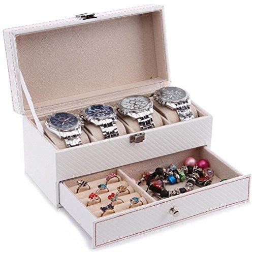 AMYMGLL Double Carbon Fiber Watch Box Reisen tragbaren Schmuck Schmuck Ring Halskette Veranstalter Schmuck Box Watch Aufbewahrungsbox , b
