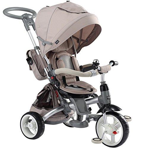 Mondial Toys Triciclo Passeggino con Sedile Girevole 6 in 1 Modi New Ivory