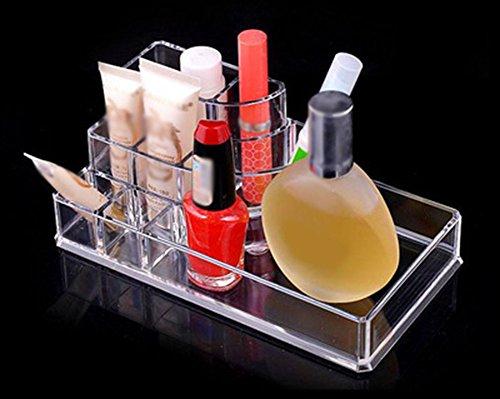 Hosaire Organisateur de Maquillage pour Rouge à Lèvres Acrylique Transparent Organisateur Multi-Cosmétiques Compartiments accessoire de rangement pour le Rouges à lèvres, Vernis à ongles,Pinceaux à maquillage