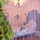 UNIAI Crystal Plain Tassel Door Curtain - 90x200cm Door String Tenda Thread Fringe Window Panel Room Divisorio Carino Strip Tassel Party Eventi