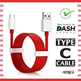 FASTX™ Compatible Dash OG Fast Charging and sync USB Type C Cable Suitable for One Plus All Type C Devices 1 Meter (Round Shape - Red and White) 6T, 6, 5T, 5, 3T, 3, 2