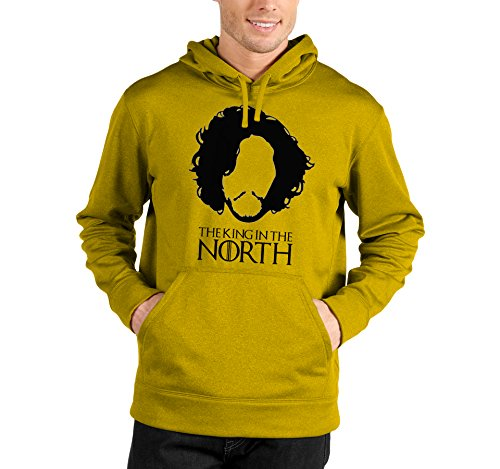 Felpa con cappuccio Game of Thrones - The King in the north - Jon Snow - Il trono di spade - serie tv - GOT7 - in cotone Giallo
