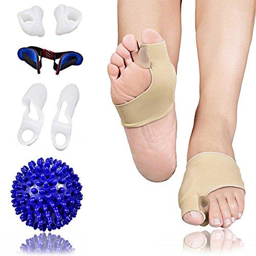 Premium set 8 pezzi correttore alluce valgo, separatore, divaricatore e rimedio al dolore, tutore per alluce valgo con pallina per massaggiare piede ideale per alleviare dolore (di padiq)