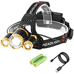 Luz Frontal 5000 Lumens Baterías Recargable Impermeable 4 Modo de Linternas Frontales Para Espeleología, Pesca, Excursionismo,Caza?Batería incluido) -Neolight T1