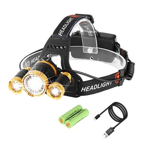 Luz Frontal 5000 Lumens Baterías Recargable Impermeable CREE T6+2XPE LED 4 Modo de Linternas Frontales Para Espeleología, Pesca, Excursionismo,Caza(Batería incluido) -Neolight T1