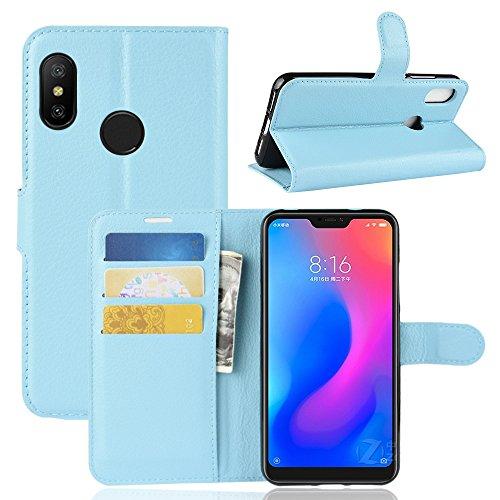 DAYNEW Tampa Xiaomi Mi A2 Lite, End PU Leather Flip Capa de Couro Carteira premium, Stands, Slot de fecho magnético, Cover to Cover Xiaomi Mi A2 Lite Azul