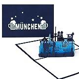 """Pop Up Karte """"München Skyline - München & Bayrisches Bier"""" - lustige Grußkarte als Souvenir, Einladung, Gutschein & Reisegutschein zum Oktoberfest"""