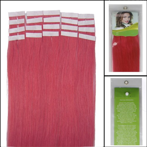 40,6 cm Bandes véritable Extensions de cheveux humains Droit Couleur Rose 30 g Lot de 20 Beauté Cheveux Style