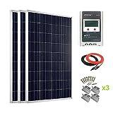 Giosolar 300Watt Hohe Effizienz Polykristalline Solar Panel Kit mit 30A MPPT Solarladeregler LCD für Wohnmobil, Wohnwagen, Wohnmobil, Boot/Yacht