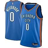 ROMANBA NBA OKC Westbrook 0 Swingman Men Jersey Trikots Herren (Blau, M)