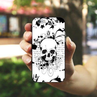 Apple iPhone 4 Housse Étui Silicone Coque Protection Crâne Crâne Ornements Housse en silicone noir / blanc