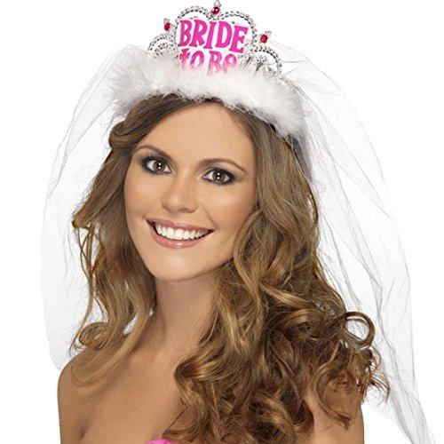 Schleier Haarreif Bride To Be Brautschleier Krönchen Junggesllinnenabschied (Tiara, Schleier)
