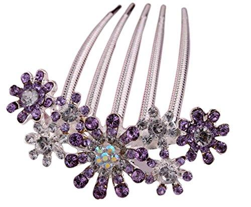 lumanuby Haarspange Full Color Diamant Haar Kamm Braut Kopf Blume Schmuck Haar Clip für Hochzeit Party gelegt werden  gelegt werden - Kopf Kamm Braut