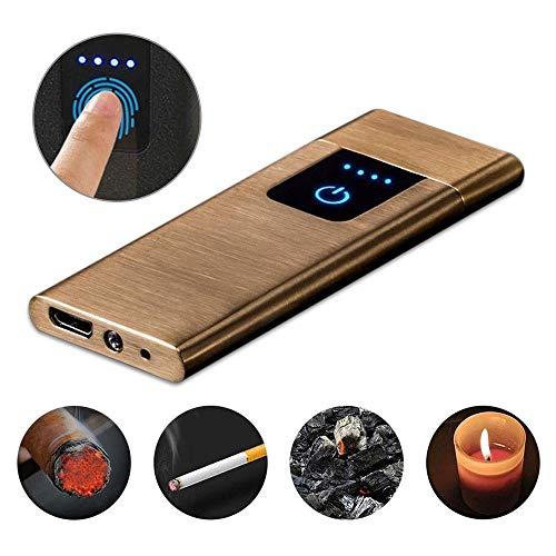 flammenlosem Fingerabdruck, tragbar, wiederaufladbar, Winddicht, mit LED-Anzeige 0,4 cm, ultradünn, elektrisch, doppelseitig, Wolfram-Spule, Brushed Gold ()