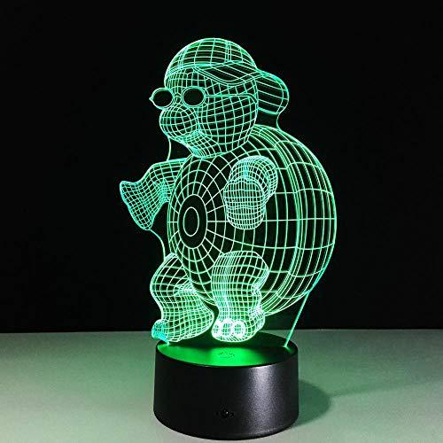 CYJQT 3D Nachtlicht Für Kinder Turtle Mit Sonnenbrille Led7 Farbwechsel Touch Für Kinder Gradienten Neuheit Beleuchtung