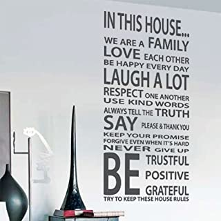 Family House Rules Love Art Wall Quote Stickers, Wall Decals, Words Lettering