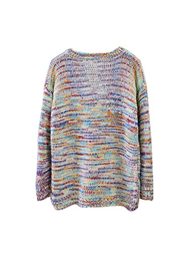 Gaorui girls womens rainbow pullover sweater knitwear tops long sleeve jumper round neck