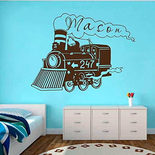 Zug Lokomotive Wand Vinyl Aufkleber Für Kinderzimmer Benutzerdefinierte Personalisierte Name Aufkleber Wandbild Kindergarten Baby Schlafzimmer Dekor Poster 42 * 55 cm (Edward Zug)