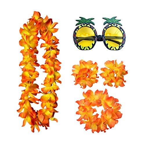 HINMAY Hawaii-Kostüm und Ananas-Sonnenbrille für Strand, Sommer, Tropische Party, Blumengirlande, Dekor-Set, Orange, Free Size