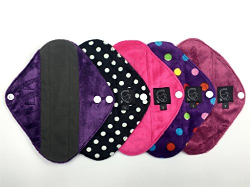 mixed-5-pack-pink-collection-panty-liner-light-flow-cloth-sanitary-pads-csp-bamboo-charcoal-minkee-m