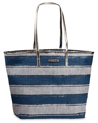 Bast-shopper (Korbtasche Bast Tasche Einkaufstasche Shopper Strandtasche große Damen Umhängetasche blau-weiß gestreift Lurex Silber)