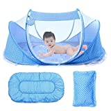 Baby Travel Bed, GrazeChoice Portable Baby Bed,Travel Folding Baby Crib, Baby Cots Newborn Foldable Crib with Mosquito Net for 0-24 Month Blue