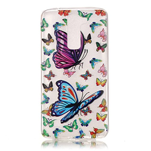 SZHTSWU 2 x Hülle für iPhone 5 / 5s / 5SE, Ultra Slim Thin Weiche TPU Ultradünn Silikon Schutzhülle Case Schmetterling Pink Blumen Transparent Clear Flexible Rückschale Back Cover Handy Hülle für Appl Muster 06