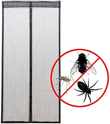 CLE DE TOUS - Cortina Malla para puerta anti-mosquitos Insectos Moscas Cierre magnética Color Negro 100x210cm