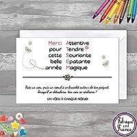 Carte de voeux Merci ATSEM + Bracelet porte bonheur Fleur