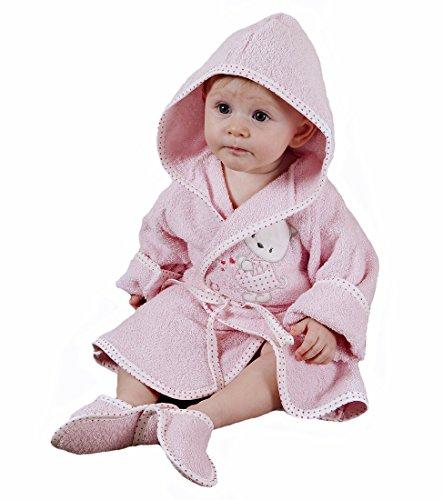 Baby Erstausstattung Set: Bademantel Kapuze Badetuch Schuhe Gürtel mit süßer Tier Applikation Katze aus 100% Baumwolle I Badeponcho Mädchen Kleinkind Säugling Babykleidung