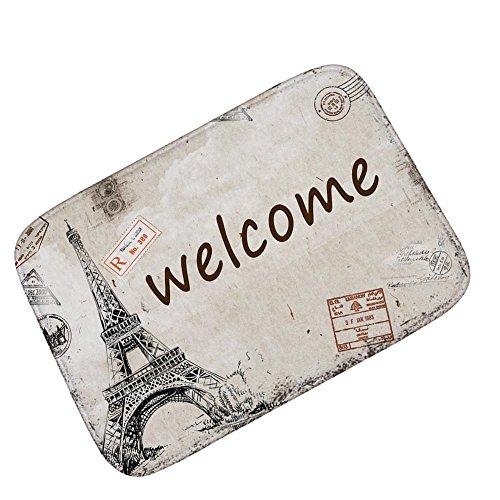 sixcup Retro casa entrada alfombra Torre Eiffel de París Felpudo 40x 60cm, moderna Doormats antideslizante alfombra para Living comedor dormitorio pasillo oficina fácil de limpiar Footcloth