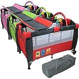 Monsieur Bébé ® Cuna de viaje plegable 60 cm x 120 cm + Colchón + Cambio de mesa + juguetes + hamaca - Tres colores - Norma NF EN716-1+A1