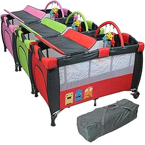 Monsieur Bébé ® Lit parapluie 60 cm x 120 cm + matelas + table à langer + jouets + hamac - Vert - Norme NF