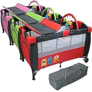 Monsieur Bébé ® Lit parapluie 60 cm x 120 cm + matelas + table à langer + jouets + hamac - Rose - Norme NF EN716-1+A1