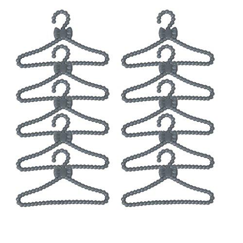 jushen 12Kunststoff Puppe Kleidung Coat Rack Schleife Muster Aufhänger für 28cm Puppen - Puppe Kleidung Muster