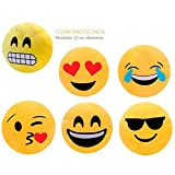 Set di 6cojínes Smiley-Cuscini Smiley Emoji 00829baratos online-regali e dettagli per compleanno, ricordi Comunione