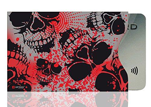 OPTEXX® 1x RFID Schutzhülle TÜV geprüft & zertifiziert Roter Totenkopf/Red Skull für Kreditkarte | EC-Karte | Personal-Ausweis Hülle sicheres Blocking von Funk Chips