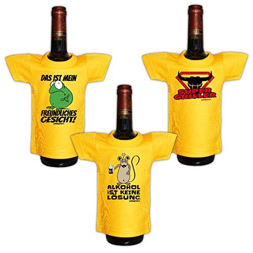 Lustiges Geschenk Mini T-Shirt für Flaschen zum Geburtstag : / Das ist mein freundliches ../ Alkohol ist... / Super Griller -- 3er Set Goodman Design® -