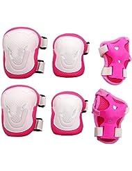 Adulte Femmes/Hommes Unisexe genou Coude Poignet Ensemble de tampons de protection pour planche à roulettes patinage Cyclisme et autres sports d'extérieur de sécurité de protection Gear Lot de de couleur rose + blanc