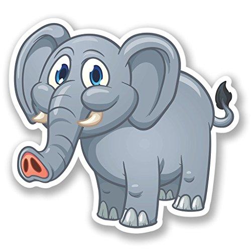 2 x 20cm/200 mm Elefante feliz Etiqueta autoadhesiva de vinilo adhesivo portátil de viaje equipaje signo coche divertido #4454