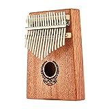 17 Tasten Kalimba Thumb Piano Finger Musikinstrument mit Stimmhammer und Anleitung für Erwachsene AnfängerB-Log Farbe Mahagoni