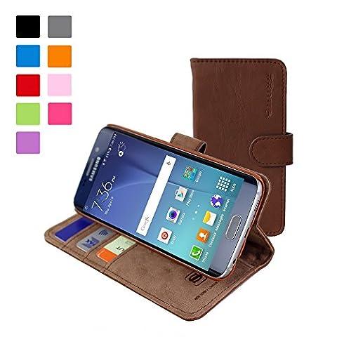 Coque Galaxy S6 Edge, Snugg Samsung Galaxy S6 Edge Etui à Rabat [Emplacements Pour Cartes] Cuir Portefeuille Housse Désign Exécutif [Garantie à Vie] - Brun, Legacy Range