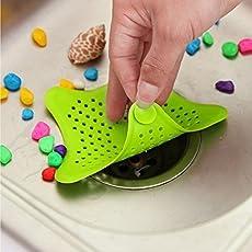 Techsun Mart Starfish Hair Catcher Rubber Bath Sink Strainer Shower Drain Cover Trap Basin (Multicolor)